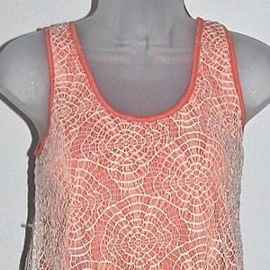 EUC Coral with Beige Lace Mystree Tank